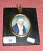 Early 19th century oval portrait miniature of grey