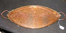 A 55cm Newlyn style copper tray embossed with