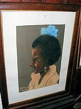 50cm x 25cm pastel portrait of a black girl