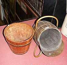Brass bound oak coal scuttle and ditto waste