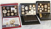 2005, 2009 and 2011 Royal Mint proof coin sets in presentation boxes