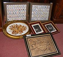 Two framed sets of cigarette cards, oval dried flower collage, Speede map,