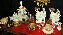 Assorted ceramics and glass, etc., including biscuit barrel, Staffordshire