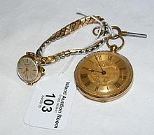 An 18ct gold cased gent's key wind pocket watch and 9ct gold cased lady's R
