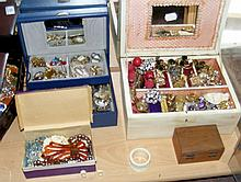 Large quantity of assorted costume jewellery, contained in three jewellery
