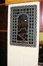 """An 88cm painted pine door with stained glass panel depicting """"Spring"""" to th"""