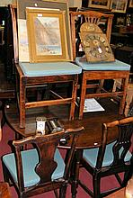 A period oak drop leaf table, together with four Georgian dining chairs
