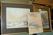 Original watercolour of Highland lake scene, together with two other pictur