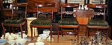 A long set of twelve 19th century mahogany dining chairs with lift-out deep