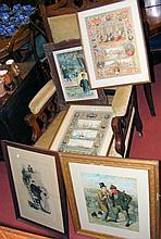 A frontispiece of three Wyllie paintings surrounded by dignitaries - framed