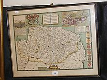 JOHN SPEEDE - 44cm x 56cm - hand coloured map of Norfolk - framed and glaze