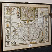 JOHN SPEEDE - 44cm x 56cm - hand coloured map of Suffolk - framed and glaze