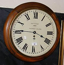 "A mahogany cased wall clock, the dial inscribed ""RAF 53 Sqd., Thorney Islan"