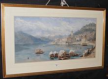 AFTER MILES BIRKET FOSTER - 34cm x 70cm - coloured print - Lake Como scene