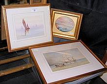 W R LEWIS - 17cm x 26cm - 19th century watercolour - three masted ship at a