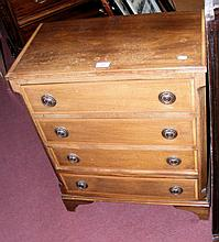Inlaid mahogany dwarf chest of four long drawers