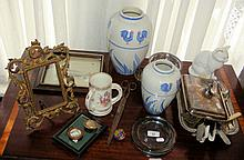 Assorted items, including entree dish, vases, loving cup, etc.
