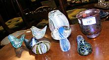 Four assorted Isle of Wight glass birds and four other items of Isle of Wig