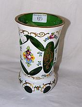 A 20cm floral decorated overlay glass vase
