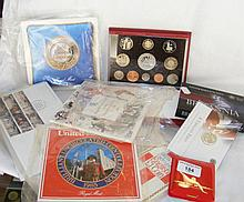 Sundry commemorative coins and First Day Covers including 2003 Coronation J
