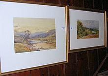 Two watercolour landscapes - indistinctly signed