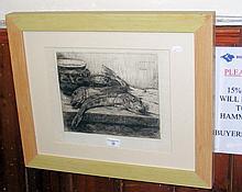 """AFTER A DELATOUCHE - 24cm x 30cm - monochrome etching """"Rougets"""""""