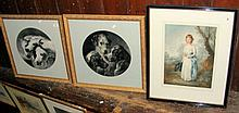 Pair of monochrome prints - horses and dogs and an aquatint AFTER SYDNEY WI