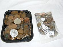 Quantity of assorted UK and foreign silver, bronze coinage