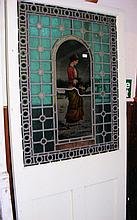 """A similar painted pine door with stained glass panel depicting """"Winter"""""""