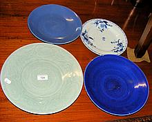 A 30cm diameter Celadon plate and three other oriental plates