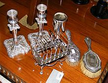 Assorted silver and plate including pair of candlesticks, hair brushes, etc