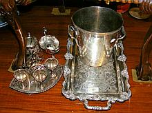 Assorted plated ware including two handled tray, ice bucket, egg cruet, etc