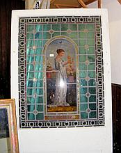 """A similar painted pine door with stained glass panel depicting """"Summer"""""""