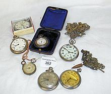 Collection of seven assorted silver cased and other pocket watches and watc