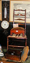 Oak cased aneroid barometer/thermometer, ladder-back chair, two footstools,