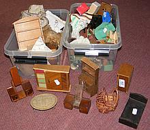 Four boxes of vintage and other dolls house furniture, including chests of