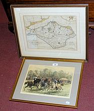 SAMUEL HORSEY - 27cm x 38cm hand-coloured map of the Isle of Wight, togethe