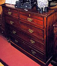 Edwardian mahogany chest of two short and three long drawers