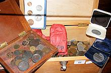 Assorted pre-decimal and decimal coinage contained in a wooden box