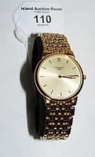 Gold plated stainless steel cased Longines gent's wristwatch with date aper
