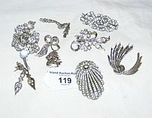 A collection of nine assorted marcasite and stone set costume jewellery