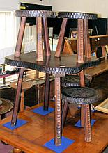 An unusual 70cm shaped and carved oak table and the matching set of four st