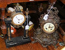 A French ornate striking mantel clock and a two pillar mantel clock timepie