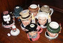Selection of Royal Doulton character jugs, together with a crested china ha