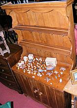 Antique pine dresser with plate rack and cupboards below