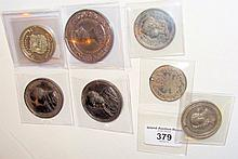 Selection of collectable medallions, including Robert Burns, etc.