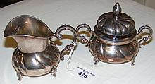 Sterling silver cream jug, together with the matching sugar jar and cover