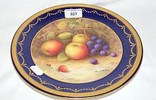 A Royal Worcester hand painted cabinet plate with fruit decoration - signed