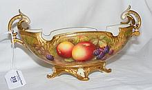A Royal Worcester hand painted two handled oval bowl with fruit and berry d