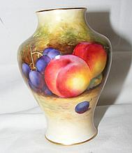 A Royal Worcester vase with hand painted fruit decoration - signed - 11cm h